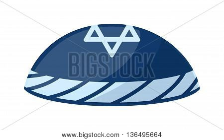 Jewish yarmulke hat vector illustration. Judaism religion cap black jewish hat. Orthodox religious man traditional israel jewish hat. Rabbi judaic male culture object accessory kippah.