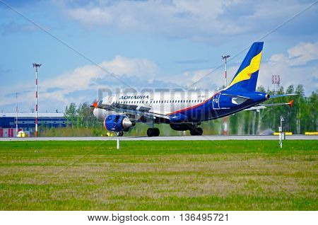 ST PETERSBURG RUSSIA-MAY 11 2016. VP-BBU Donavia Airbus A319-111 airplane is riding on the runway after landing in Pulkovo airport.