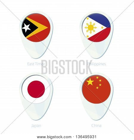 East Timor, Philippines, Japan, China Flag Location Map Pin Icon.