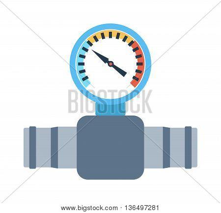 Pressure sensor differential tool vector icon or pressure sensor on factory pipeline. Circle pressure temperature sensor control for industrial. Gas or Oil industry. Water pressure