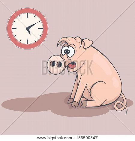Sleepy cartoon pig in early morning. Tired swine dream about bed. Clock on the wall. Drowsy funny farm animal sitting on the floor