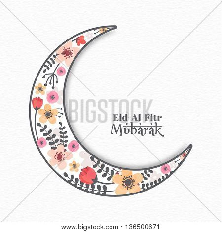 Creative Crescent Moon with beautiful watercolor flowers decoration, Elegant Greeting Card design for Islamic Holy Festival, Eid-Al-Fitr Mubarak celebration.