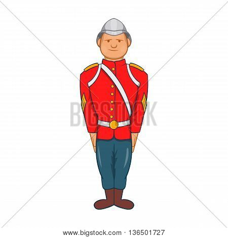 Man in a red jacket and metal helmet, army uniform 19th century icon in cartoon style on a white background
