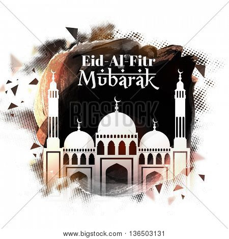 Creative Glossy Mosque on abstract background, Elegant Greeting Card design for Islamic Holy Festival, Eid-Al-Fitr celebration.