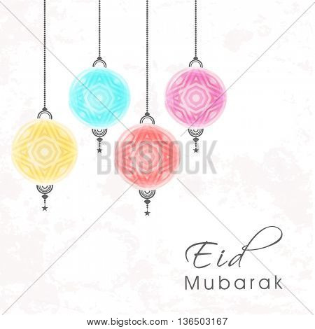 Eid Mubarak Greeting Card or Invitation Card design with colourful hanging lamps, Beautiful festive background for Eid Mubarak, Creative vector illustration for Muslim Community Festival celebration.
