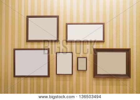 Picture frame Photo art gallery on the wall. copy space great for your design