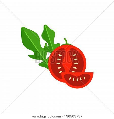 Cherry Tomato With Leaf Arugula Vector Illustration. Red Tomato Cut In Half. Vegetable For Salad.