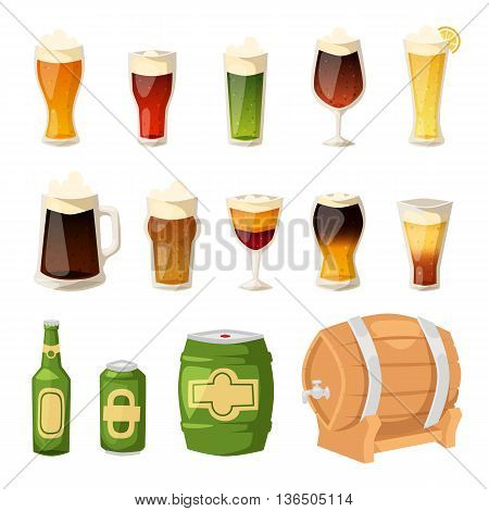 Beer vector icons set. Beer bottle, glass and different types of beer label. Beer cups vector icons isolated. Oktoberfest beer light drink vector set. Beer drink pub alcohol logo cold foam dark drink.
