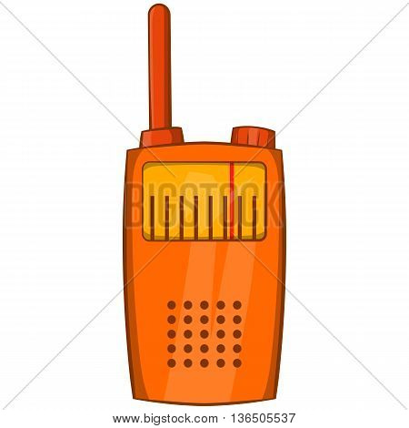 Orange portable handheld radio icon in cartoon style on a white background