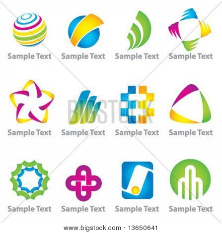 Set of abstract elements. vector