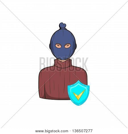 Robbery insurance icon in cartoon style on a white background