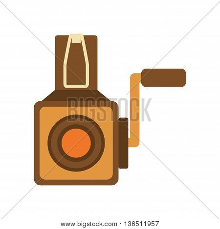 Retro and vintage technology concept represented by videocamera icon. isolated and flat illustration