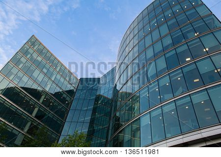 Corporate futuristic building from steel and glass
