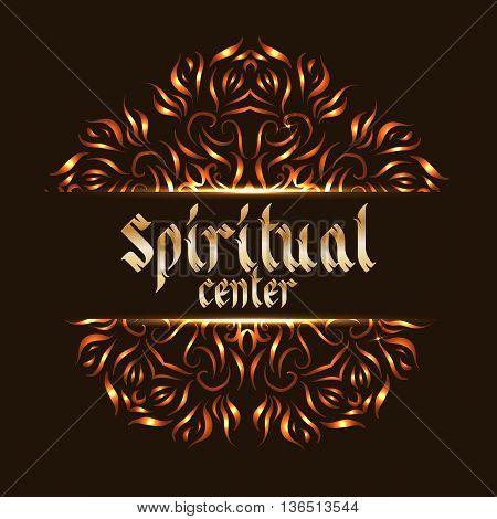 Spiritual center logo mandala. Sacred spirituality pattern, floral symbolic for indian mediation. Vector illustration