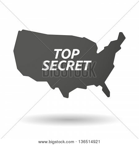 Isolated Usa Map Icon With    The Text Top Secret