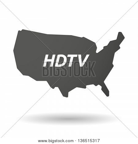 Isolated Usa Map Icon With    The Text Hdtv