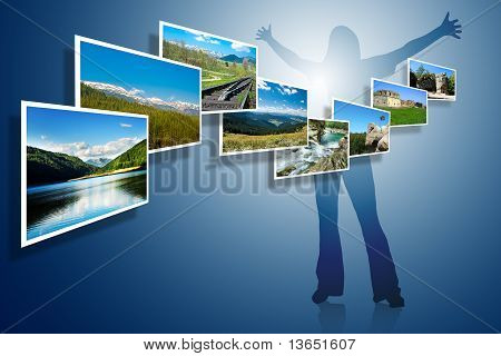 Landscape Photos On Blue Background