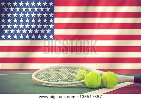 Us Open Tennis Concept With Flag And Ball Vintage Color