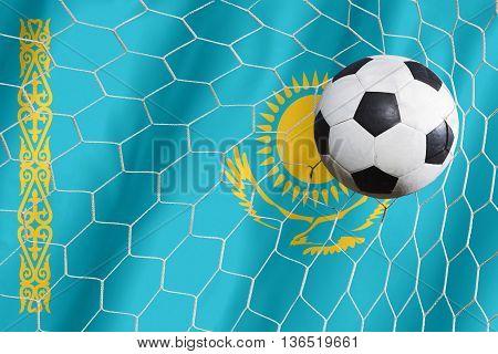 Kazakhstan Flag And Soccer Ball, Football In Goal Net
