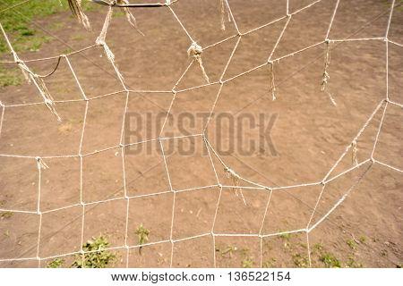 Broken Sports Netting Football Goal