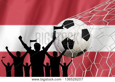 Silhouettes Of Soccer Fans With Flag Of Austria.cheer Concept
