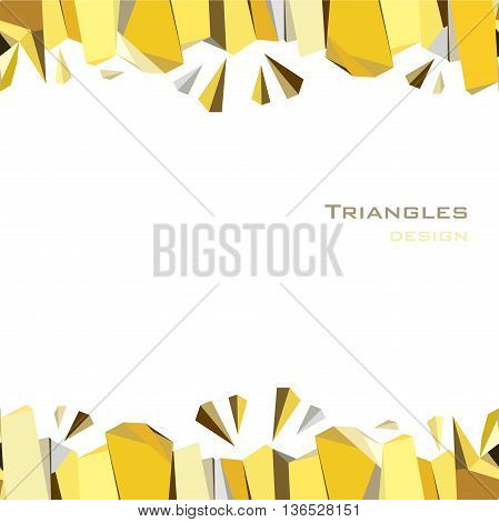 Horizontal gold frame geometric design. Golden crystal geometric abstract triangles border design on white background. Golden abstract geometric background. Golden vector illustration stock vector.