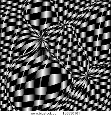 Checkerboard background of black and white squares.