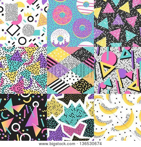 Universal different vector seamless patterns set. Endless texture abstract seamless pattern fills background surface textures. Set of colorful abstract seamless pattern geometric ornaments.