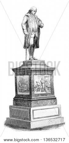 Franklin statue in Boston, vintage engraved illustration. Magasin Pittoresque 1861.
