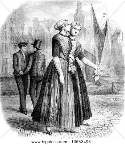 Orphans in Amsterdam, vintage engraved illustration. Magasin Pittoresque 1861.