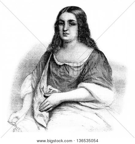 Pocahontas, vintage engraved illustration. Magasin Pittoresque 1861.