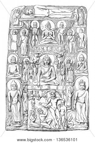 Bas relief Museum of Calcutta, Episodes from the life of Shakyamuni, vintage engraved illustration. Magasin Pittoresque 1861.
