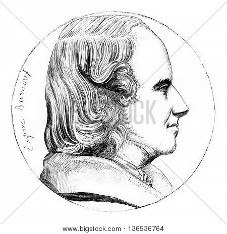 Eugene Burnouf, vintage engraved illustration. Magasin Pittoresque 1861.