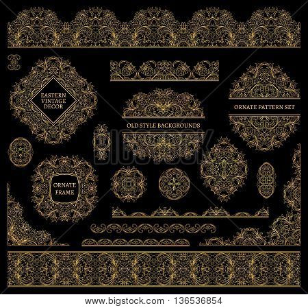 Set of line art frames and borders for design template. Vector. Golden on black. Element in Eastern style. Outline floral frames. Mono line decor for invitations, greeting cards, thank you message.