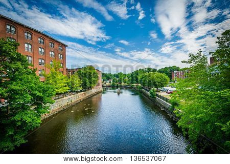 Historic Brick Buildings And The Cocheco River, In Dover, New Hampshire.