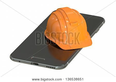 Construction Hard Hat and Smartphone service and repair concept. 3D rendering isolated on white background