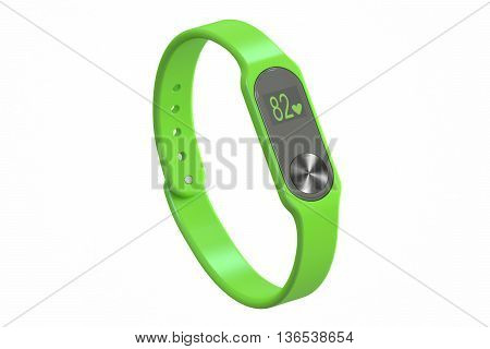green activity tracker or fitness bracelet 3D rendering isolated on white background
