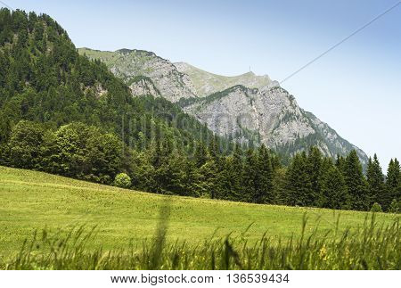 Mountain landscape in Romania with view towards Caraiman heroes cross monument
