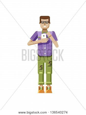 Stock vector illustration isolated of European man in purple checkered shirt, pants, patches, in glasses, man with smartphone in hand, man looking into screen of phone, flat style on white background