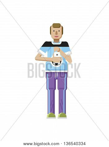 Stock vector illustration isolated of European man with blond hair, receding hairline, smartphone in hand, man looking into screen of phone, T-shirt with soccer ball in flat style on white background