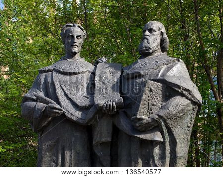 Murmansk Russia - June 19 2013 Fragment monument to the creators of the Slavic alphabet Saints Cyril and Methodius