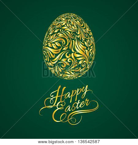 Abstract Easter Egg with Floral Pattern on Dark Green