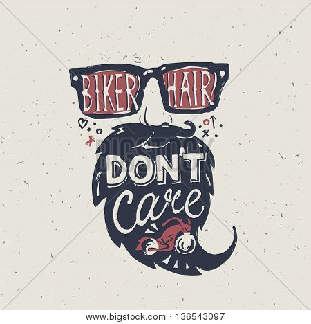 Motorcycle rider with retro racer helmet. Biker hair don't care. T-shirt graphics. Vintage style. Vectors.
