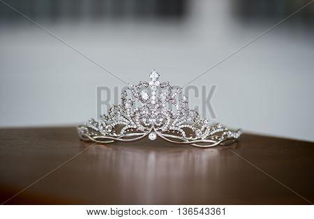 Beautiful tiara on the table , art