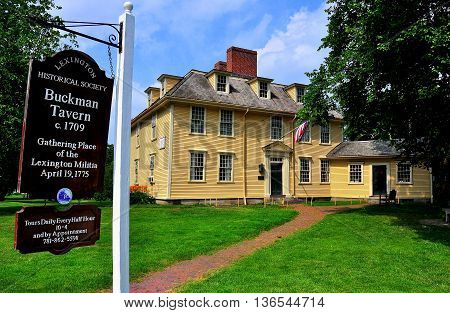Lexington Massachusetts - July 16 2013: 1709 Buckman Tavern where the Minute Men (Lexington Militia) gathered prior to the April 19 1775 Battle of Lexington which began the American Revolution *