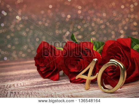 birthday concept with red roses on wooden desk. 3D render - fortieth birthday. 40th