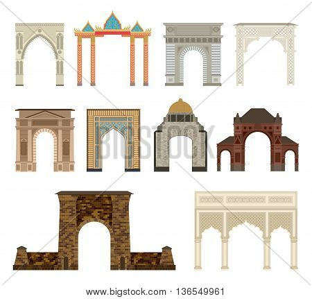 Arch vector set architecture ancient frame arch. Column entrance design arch and arch classical construction. History antique culture pillar exterior facade arch. Ornament gateway monuments