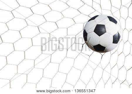 Soccer Ball In Goal On White Background