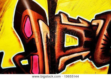 Very smart graffiti brown and yellow