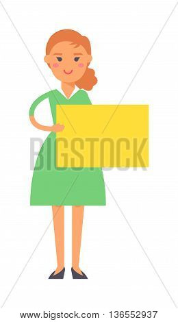 Cute fashion girl with chestnut hair hold big banner isolated on white background for your text. Young happy smile girl standing hold pointing her finger blank board, attractive girl wear blue dress.
